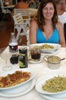 Typical Italian dinner of pasta, seafood, Lemon Soda, & Diet Coke with a beautiful woman