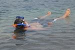 Lee snorkeling in the warm water off Pareti Bay